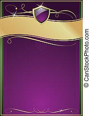 пурпурный, щит, золото, &, зеленый, богато украшенный, страница
