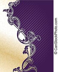 пурпурный, элегантный, цветочный, задний план, золото