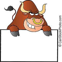 пустой, бык, знак, коричневый