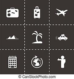 путешествовать, вектор, черный, задавать, icons
