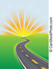 путешествовать, небо, утро, яркий, будущее, шоссе