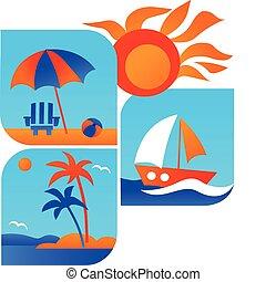 путешествовать, пляж, лето, -1, icons, море