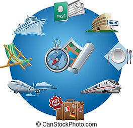 путешествовать, icons