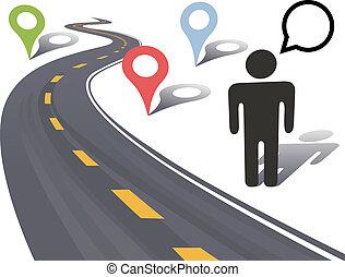 путешествовать, markers, человек, место, дорога, боковая сторона, шоссе