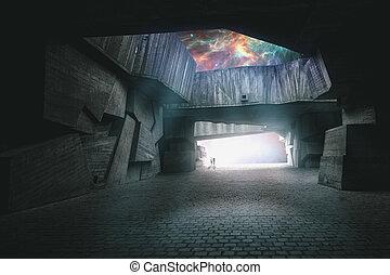 путь, открытый, абстрактные, backgrounds, воображение, другой, world., ваш