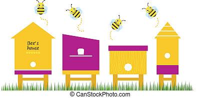 пчела, весна, вектор, коллекция, houses
