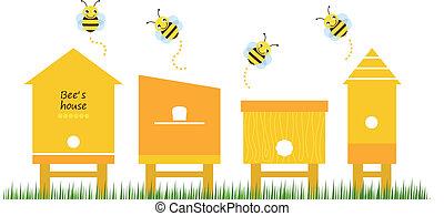 пчела, коллекция, вектор, houses, весна