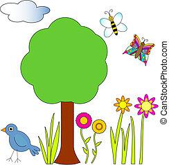 пчела, птица, бабочка, цветы, дерево