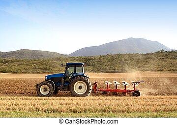 пшеница, поля, зерновой, сельское хозяйство, plowing, трактор