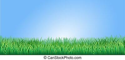 пышный, трава, зеленый, иллюстрация