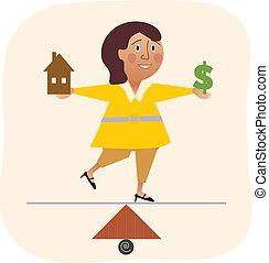 работа, женщина, balancing, семья