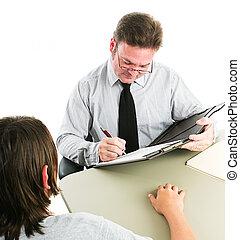 работа, интервью, подросток, консультирование, или