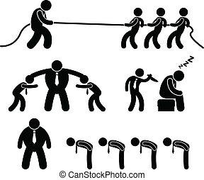работник, бизнес, борьба, pictogram