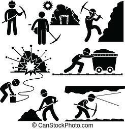 работник, добыча, труда, шахтер, люди