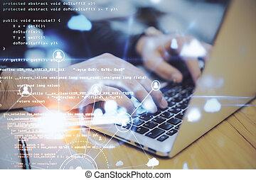 рабочий стол, голограмма, ресурсы, портативный компьютер, с помощью, человек, рука