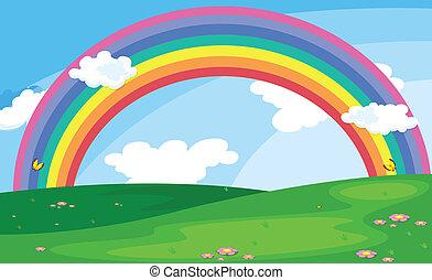 радуга, небо, зеленый, пейзаж