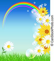 радуга, цветы, трава, зеленый