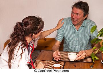 разговор, старшая, having, медсестра