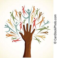 разнообразие, задавать, дерево, человек, рука