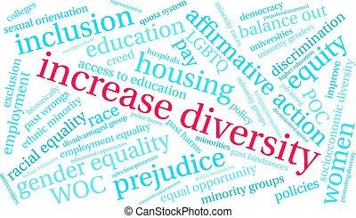 разнообразие, облако, увеличение, слово