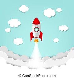 ракета, небо, облако, мультфильм