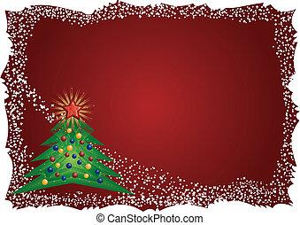рамка, дерево, рождество, задний план, красный
