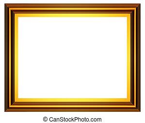 рамка, золото, прямоугольный