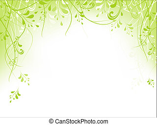 рамка, листва, зеленый