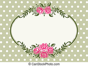 рамка, марочный, зеленый, roses