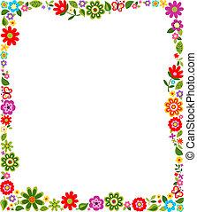 рамка, шаблон, граница, цветочный