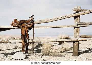 ранчо, -, забор, седло