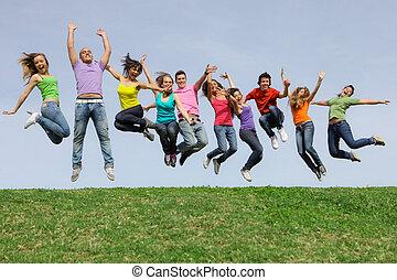 раса, группа, прыжки, разнообразный, смешанный, улыбается, счастливый