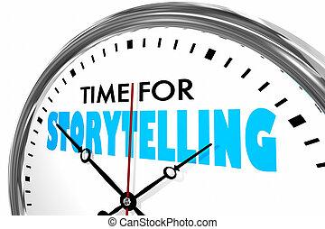рассказывание, часы, иллюстрация, words, время, 3d