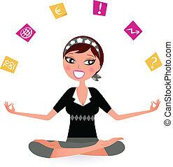 расслабиться, вектор, занятый, женщина, йога, position., иллюстрация, ретро, notes, пытаясь
