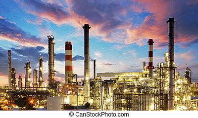 растение, масло, газ, промышленность, -, завод, очистительный завод, нефтехимический, сумерки