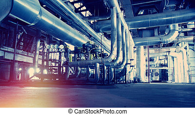 растение, промышленные, мощность, внутри, современное, оборудование, трубопровод, найденный, cables