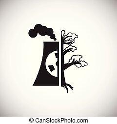 растение, экология, мощность, ядерной, задний план, белый, значок