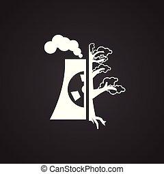 растение, экология, мощность, ядерной, черный, задний план, значок