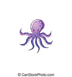 растр, style., octopus., подводный, иллюстрация, creature., мультфильм, пурпурный, веселая, квартира