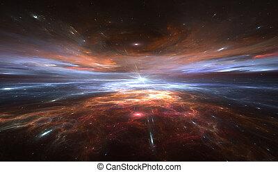 расширение, деформироваться, путешествие, space., время