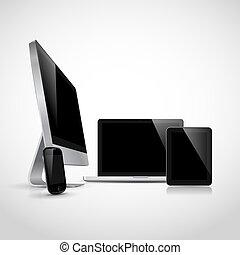 реалистический, devices, вектор, электронный