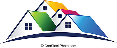 реальный, вектор, группа, houses, имущество