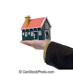 реальный, дом, -, имущество, рука
