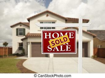 реальный, дом, продан, имущество, знак