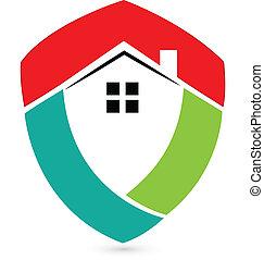 реальный, дом, щит, имущество, логотип