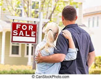реальный, кавказец, имущество, дом, пара, знак, облицовочный, фронт, продан