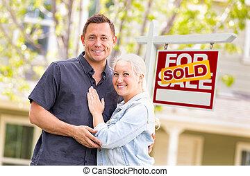 реальный, кавказец, имущество, дом, пара, знак, фронт, продан