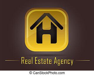 реальный, логотип, агентство, имущество
