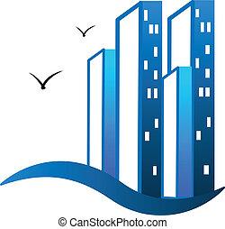 реальный, логотип, buildings, современное, имущество