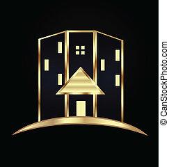 реальный, современное, логотип, buildings., имущество